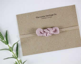 Hand Tied Hair Bow 100% Linen Mini in Dusty Pink // Clip or Band