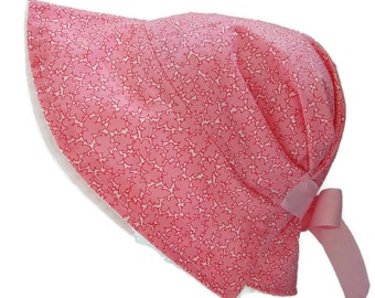 adjustable pink baby sun hat, cap