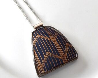 Broken China Jewelry Pendant - Blue and Gold Chevron