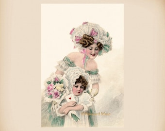Victorian Mother And Daughter New 4x6 Vintage Image Photo Print VI04