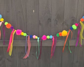 Colourful pom pom and Ribbon Bunting by Joyce Molly Designs