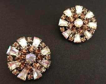 Signed Austria Rhinestone Earrings, Vintage Jewelry, Snowflake Earrings, Clip On Earrings, 1950s Aurora Borealis Earrings, Vintage Earrings