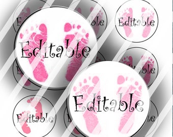 "Editable Bottle Cap Collage Sheet - Baby Girl Footprints (104) - 1"" Digital Bottle Cap Images"