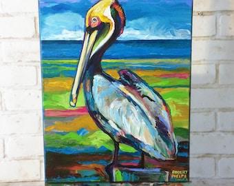 """11"""" by 14"""" Pelican Painting by Robert Phelps-pelican art, beach decor, beach art, pelicans, animal art, bird art, bird painting, Florida art"""