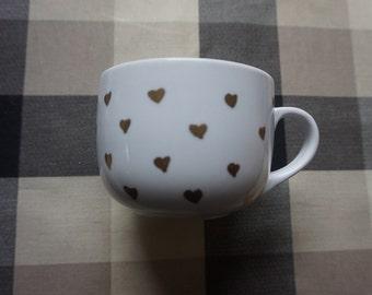 Handmade Small Gold Hearts Mug,cute,oil sharpies,coffee mug,sharpie mugs,diy,design,red,heart,16oz,large,big,gold,small,hearts
