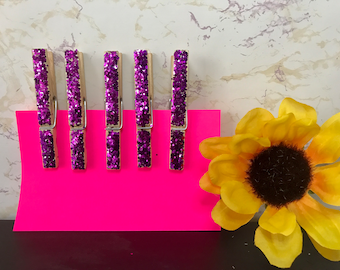 Set of 5 Glitter Clothespins - Purple Clothes Pin - 3'' Clothes Pin - Purple Glitter Covered - Iridescent Sparkly Clothespins - Shabby Chic