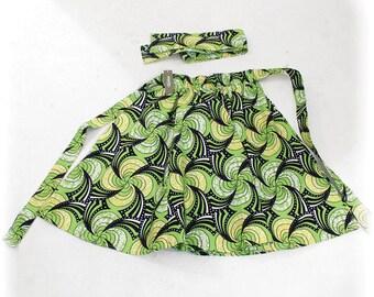 African Print Skirt - Lime Pinwheel