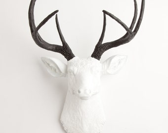 Deer Head, The Maud - White with Black Antlers Resin Stag Head, Stag Resin by White Faux Taxidermy