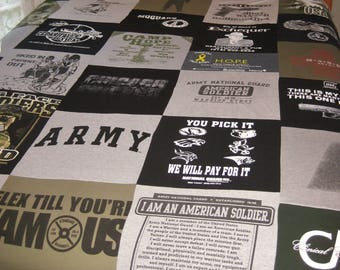 T-shirt Quilt/blanket, fleece back, full size