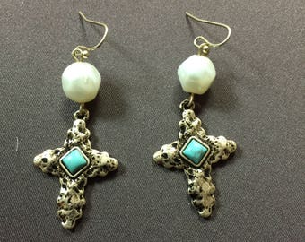 Cross Earrings with Turquoise and Pearl accents