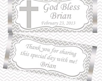 Cross Grey Baptism Christening First Holy Communion - Personalized Candy Bar Wrapper