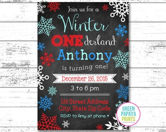 Winter Onederland Invitation - Winter Wonderland - Digital File - Printable - Blue, and Red - Snowflake - Boy's First Birthday Invitation