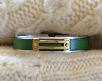 Preppy Equestrian Leather Metal Cuff Bracelet - Forest Green
