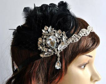 1920's flapper Headpiece, Rhinestone Flapper headband, The Great Gatsby, rhinestones headband, vintage rhinestone brooch, silver black
