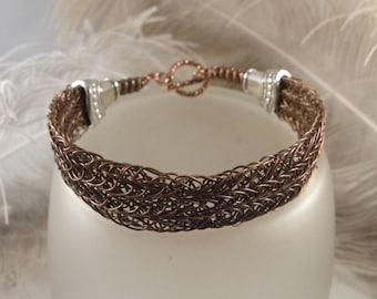 Copper Hammered Wire Bracelet