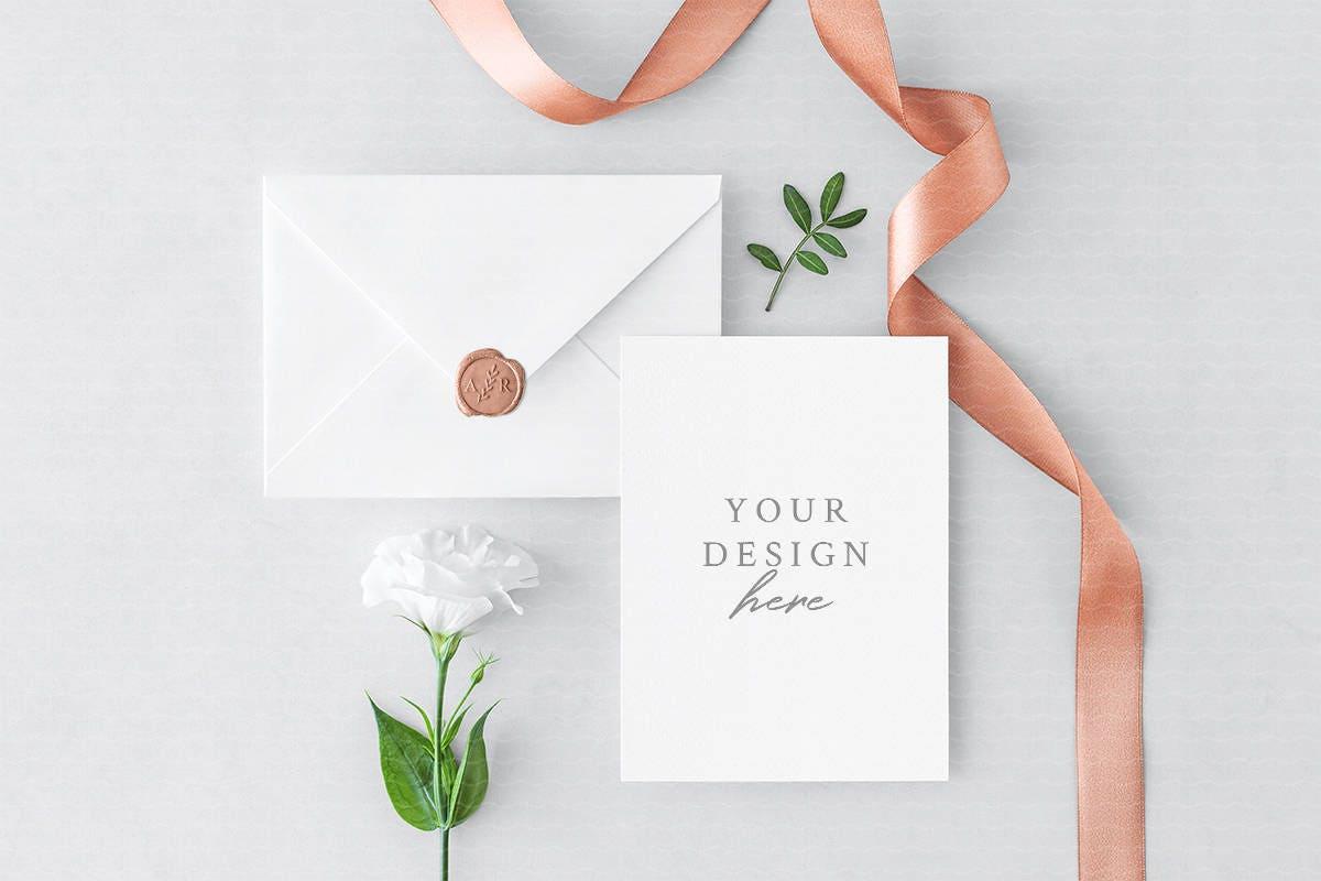 Wedding Invitation or Save the Date Card & Envelope Mockup
