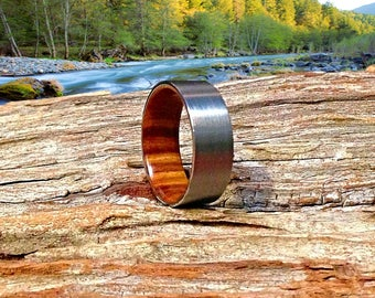 Mens Wood Wedding Ring | Wooden Wedding Band | Fine Tungsten Wood Ring | Meticulously Handmade from Lignum Vitae  - Waterproof.