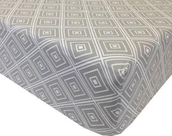 reg. price 26.00 Geometric Gray Crib Sheet