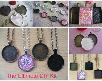 12pc...Starter Kit....12 Piece Pendant Trays and Bracelet Kit...Glass Tiles Necklace..Bezels, Chains, and Glass.
