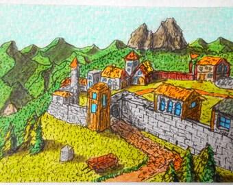 "Fantasy Art print- castle drawing print ""Kvaldaruul Hights South Gates"", Fantasy World Series- castle fort art print in many measures"