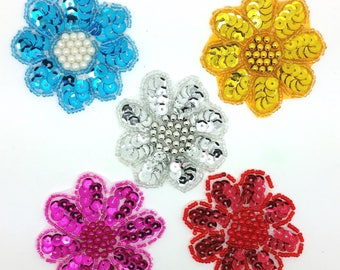 MAXI FLOWER SEQUIN + BEAD COLOR CHOICE SEWING SCRAPBOOKING WEDDING 6.5 CM