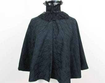 Victorian Women's Black Evening Cape -  Fine Wool with threaded pattern,  Jet black beading & Lace Collar