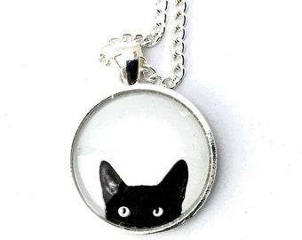 Cat necklace black background white, fun, black and white, silver, glass cabochon.