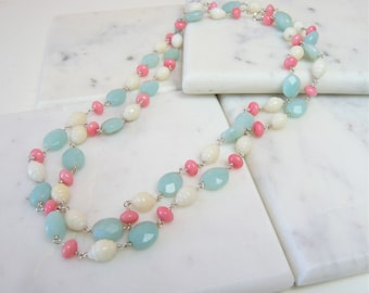 Pastel Amazonite Stone And Coral Necklace