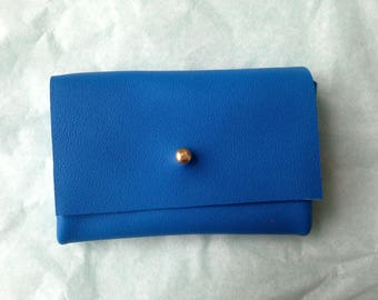 Wallet blue leather, gold clasp