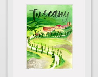 Around the World Watercolor Prints - Tuscany