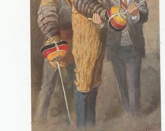 "A/S Georg Muhlberg Students Fencing 1910's Mensurpause"""