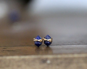 Lapis Lazuli Studs ,  Petite Gemstone Post Earrings in Gold , Rose Gold , Sterling Silver , Navy Blue Geometric Natural Stone - Pike