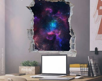 Space Wall Decal Galaxy Wall Sticker Hole in the Wall 3d Effect Wall Sticker 3d Wall Decal Broken Wall 3d Effect Mural Home Decor & Space wall mural | Etsy