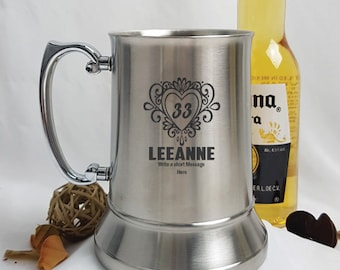 Birthday Engraved Stainless Steel Stein -Female Designs - Any Age