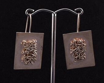 pure silver earrings with pure silver wire , weaving yarn, hand made 2 / 2.7 cm.