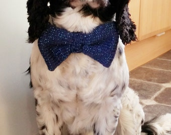 Dog Glitter Blue Bow Tie COMPLETE, hand knitted, ready to ship