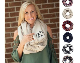 Monogrammed Scarf Personalized Infinity Scarf Monogram Scarves Custom Embroidered Plaid Navy Wine Garnet Pink Green Checkered Black White