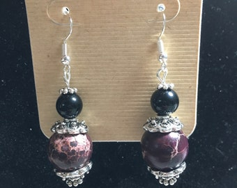 Burgundy and Black Earrings