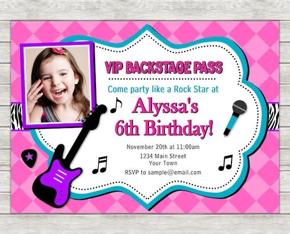 Rock star birthday invitation pop star birthday invitation stopboris Images