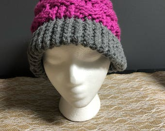 Pink and grey basket weave hat