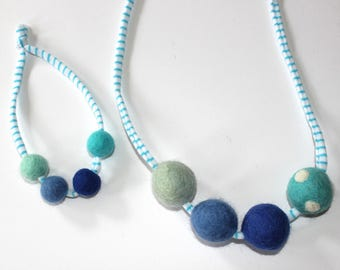Blue Doll and Me Felted wool Ball Necklace