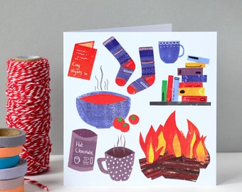 Cosy Winter Greetings Card   Birthday Card   Greetings Card   Birthday   Winter Birthday   Cards for her