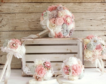 Bridal bouquet set, Bridal bouquet, bridesmaid bouquets , rustic bouquet, wedding bouquet