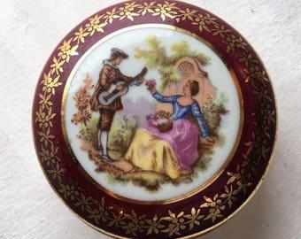 Romantic Limoges Trinket Box|Vintage Limoges Trinket Box|Collectible Porcelain Box|Fine Porcelain|Fragonard|Made in France|Covered Round Box