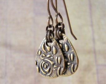 Brass Teardrop Earrings Vintaj Brass Ear Wires Tierracast Pewter Garden Pattern