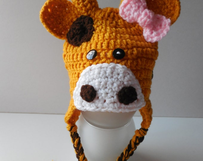 Giraffe Girl Hat - Giraffe Hat with Pink Bow - Earflap Hat - Adult Animal Hat - Handmade Crochet - Made to Order