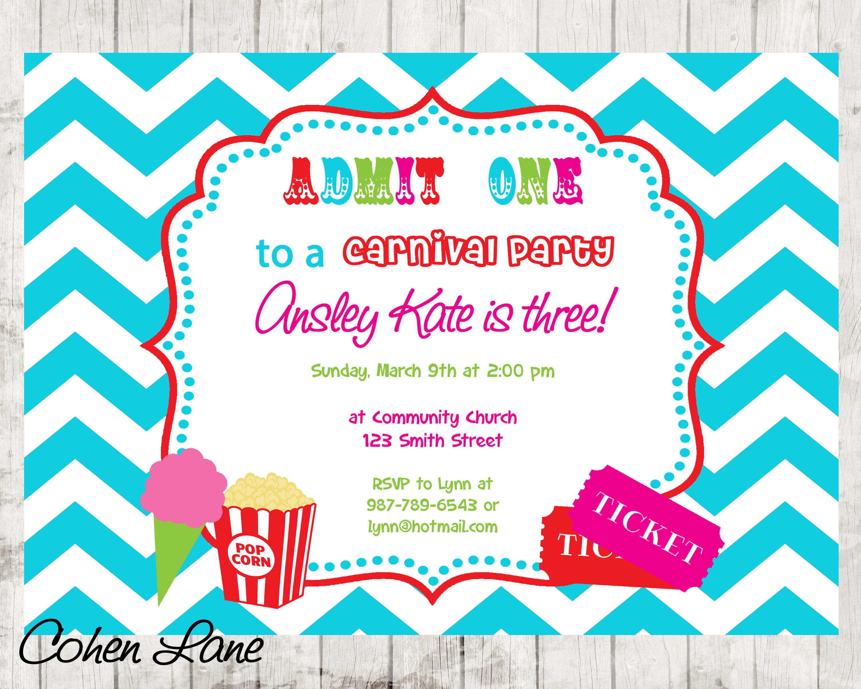 Carnival Birthday Party Invitation. Girly Circus Invitation.
