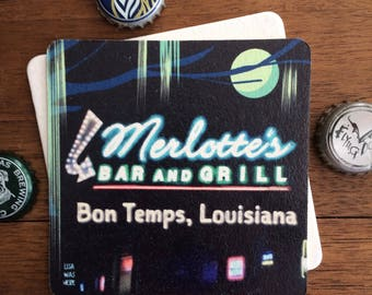 TRUE BLOOD Beermat Drink Coaster with Original Graphic Design by LisaWasHere for MERLOTTE's Bar and Grill