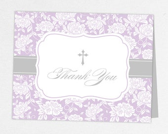 Communion Thank You Card, Photo Communion Thank You, Printable Communion Thank You, Folded Cards, Printed, Damask, Purple, Floral, Gracie