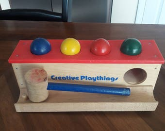 Vintage 1970's Creative Playthings Wooden Bench, Balls and Hammer Toy